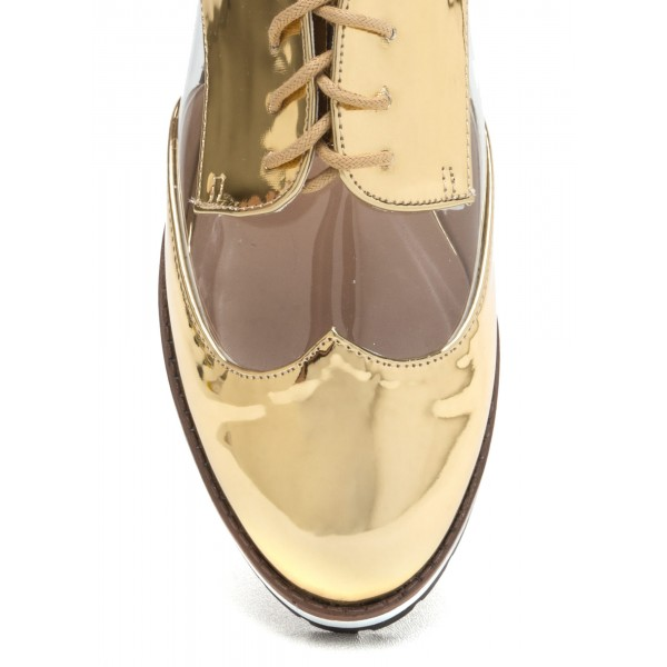 Gold Women's Oxfords Lace up Mirror Leather Vintage School Shoes image 3