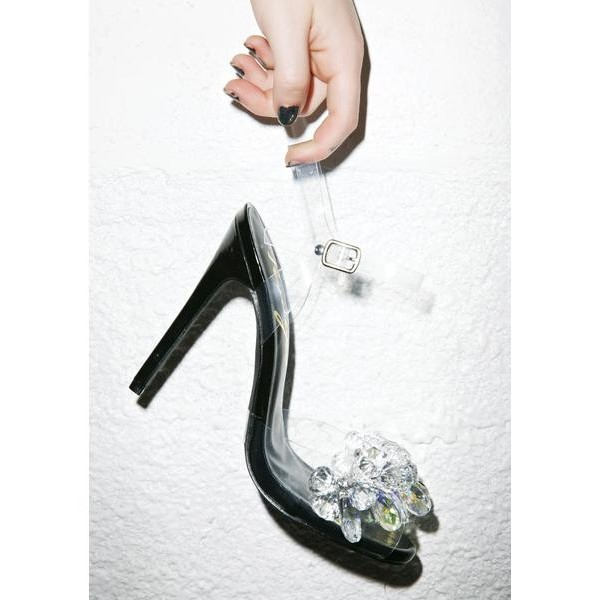 Women's White Lace Rhinestone Clear Stiletto Heel Wedding Shoes image 2
