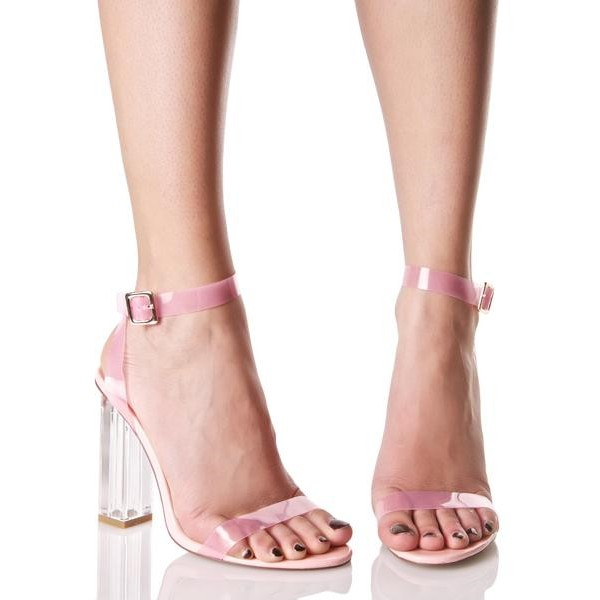 885ff38b67b Women s Pink Chunky Clear Heel Open Toe Ankle Strap Sandals for Ball ...