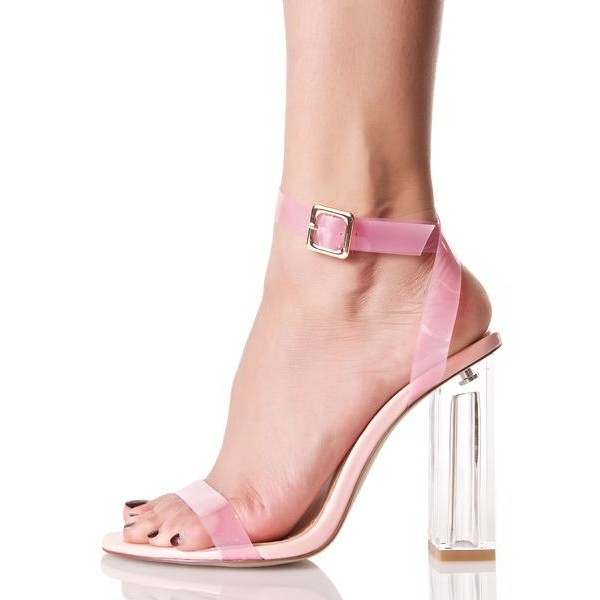 b82f54da896 ... Women s Pink Chunky Clear Heel Open Toe Ankle Strap Sandals image ...