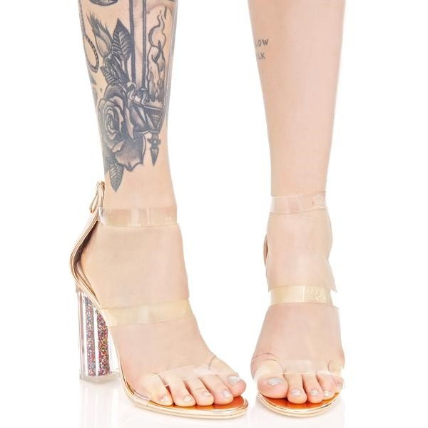 Women's Clear Heels Chunky Heel Ankle Strap Sandals image 4