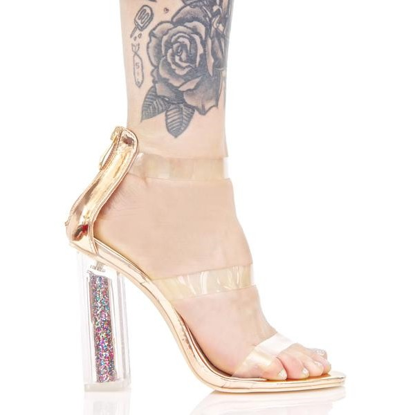Women's Clear Heels Chunky Heel Ankle Strap Sandals image 3