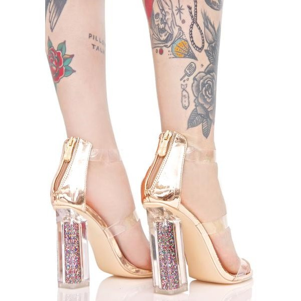 Women's Clear Heels Chunky Heel Ankle Strap Sandals image 2