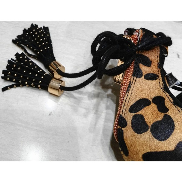 Leopard Print Heels Tassels Lace up Strappy Sandals with Platform image 2