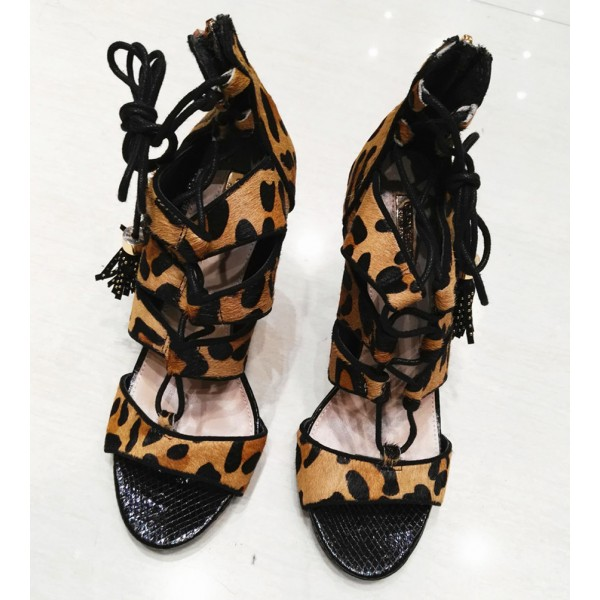 Leopard Print Heels Tassels Lace up Strappy Sandals with Platform  image 4