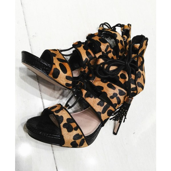 Leopard Print Heels Tassels Lace up Strappy Sandals with Platform  image 3