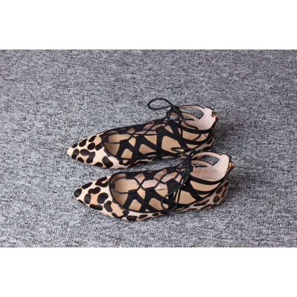 Women's Brown Leopard Printed Pointy Toe Hollow Out Strappy Flats image 3