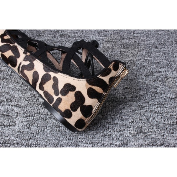 Women's Brown Leopard Printed Pointy Toe Hollow Out Strappy Flats image 5
