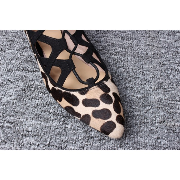 Women's Brown Leopard Printed Pointy Toe Hollow Out Strappy Flats image 2