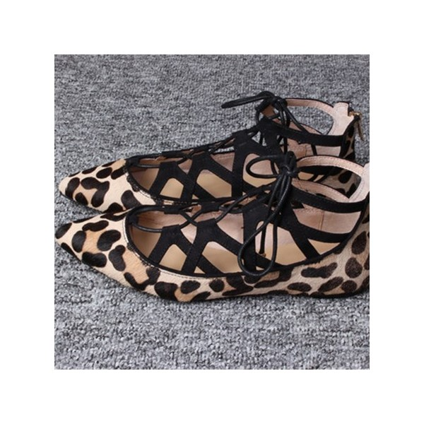 Leopard Print Flats Suede Lace Up Comfortable Shoes US Size 3-15 image 1