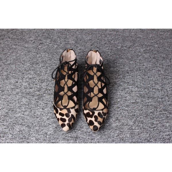 Women's Brown Leopard Printed Pointy Toe Hollow Out Strappy Flats image 6