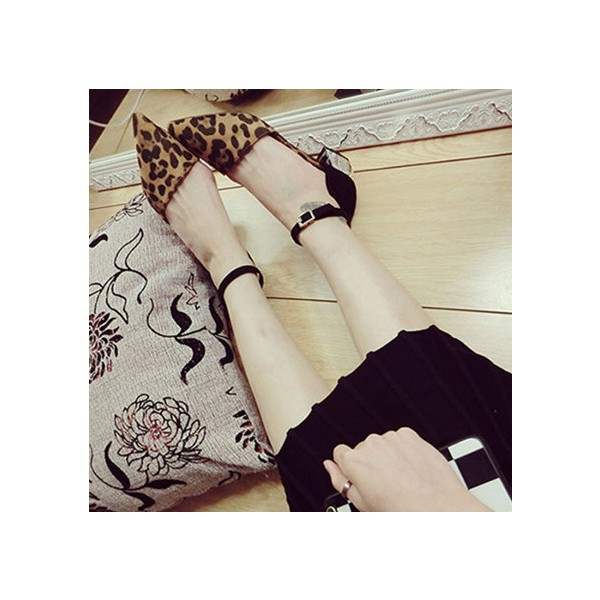 Leopard Print Shoes Ankle Strap Chunky Heels Closed Toe Sandals image 2