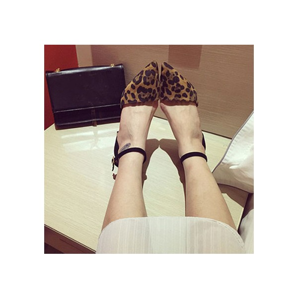 Leopard Print Shoes Ankle Strap Chunky Heels Closed Toe Sandals image 1