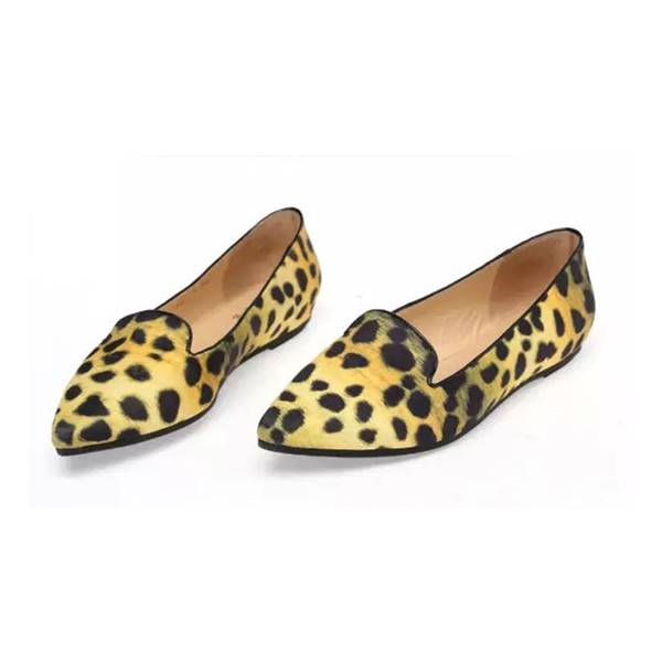 1f32eb742bfe Women's Lemon Yellow Pointed Toe Leopard Print Flats for Party ...