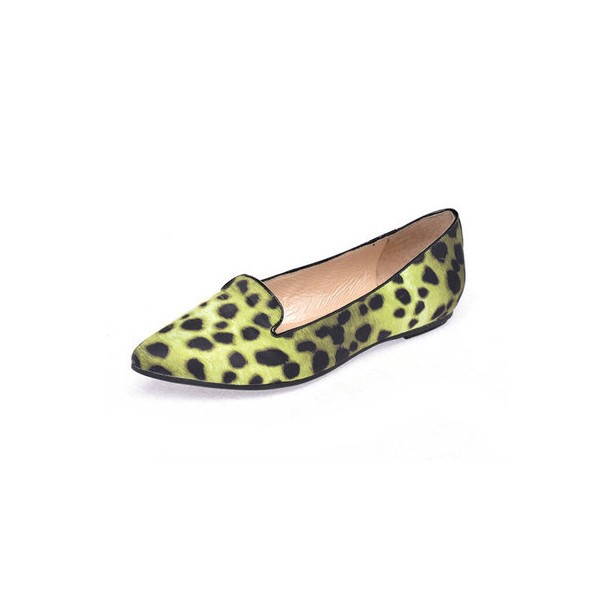 c982ac63e1c1 Women's Light Green Pointed Toe Leopard Print Flats for Party ...
