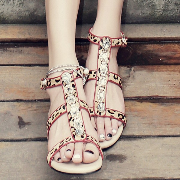 Leopard Print Flats Open Toe T Strap Sandals with Rhinestones image 4