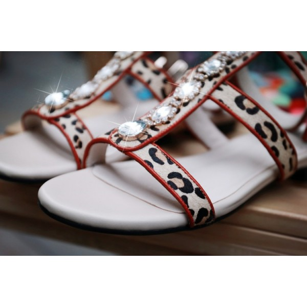Leopard Print Flats Open Toe T Strap Sandals with Rhinestones image 2