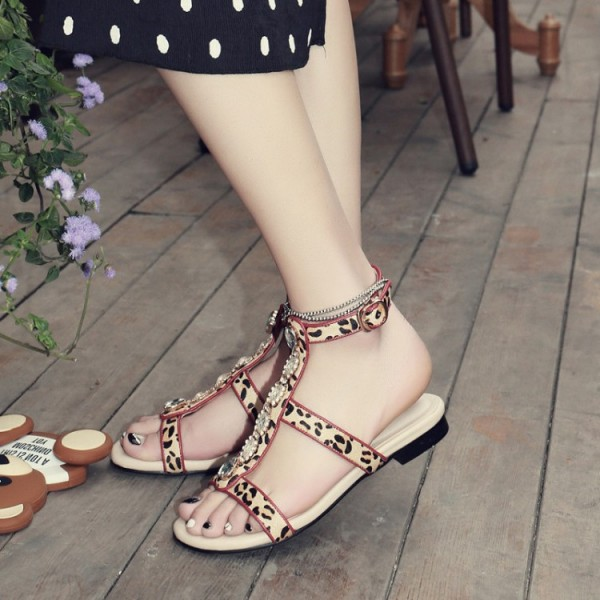 Leopard Print Flats Open Toe T Strap Sandals with Rhinestones image 1