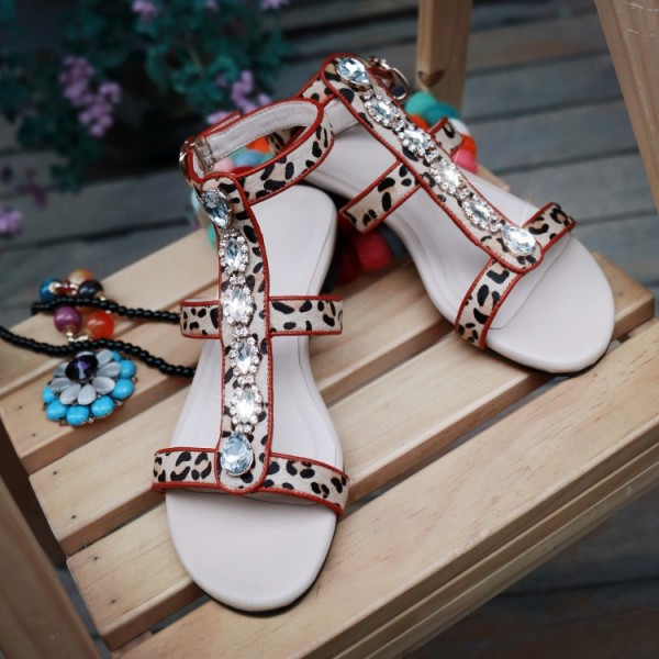 Leopard Print Flats Open Toe T Strap Sandals with Rhinestones image 5