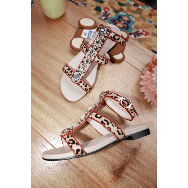 Leopard Print Flats Open Toe T Strap Sandals with Rhinestones image 3