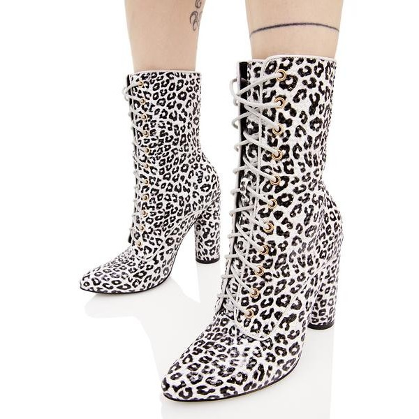 Leopard Print Boots Lace up Block Heel Mid Calf Boots image 3