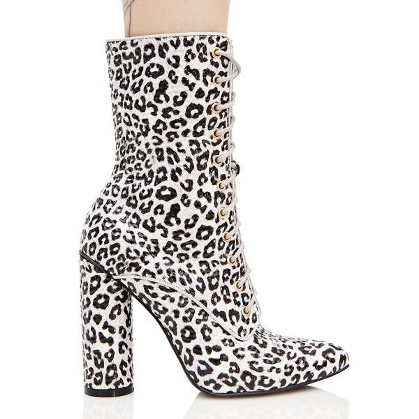 Leopard Print Boots Lace up Block Heel Mid Calf Boots image 4