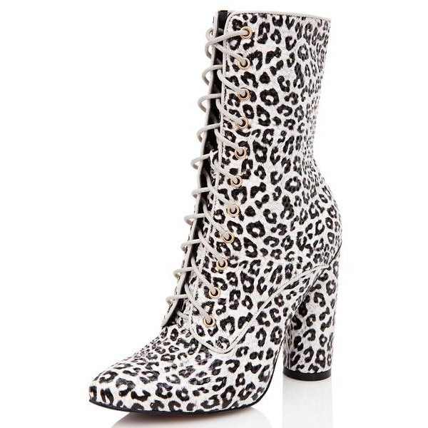 Leopard Print Boots Lace up Block Heel Mid Calf Boots image 1