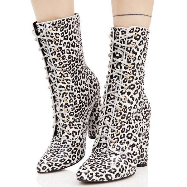 Leopard Print Boots Lace up Block Heel Mid Calf Boots image 5