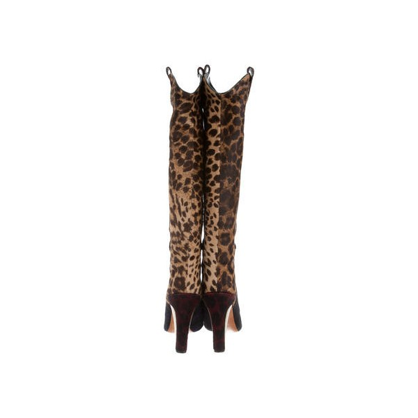 Leopard Print Boots Knee-high Chunky Heel Boots US Size 3-15 image 4