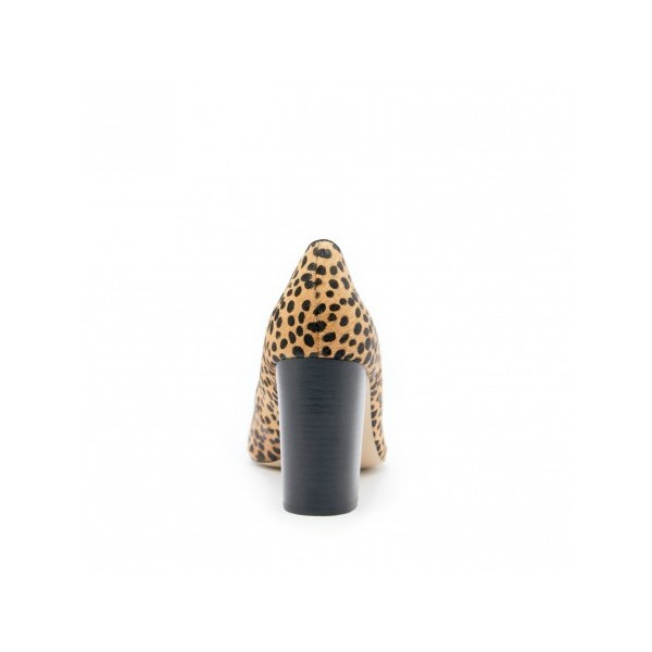 Leopard Print Heels Chunky Heel Round Toe Pumps for Female image 3