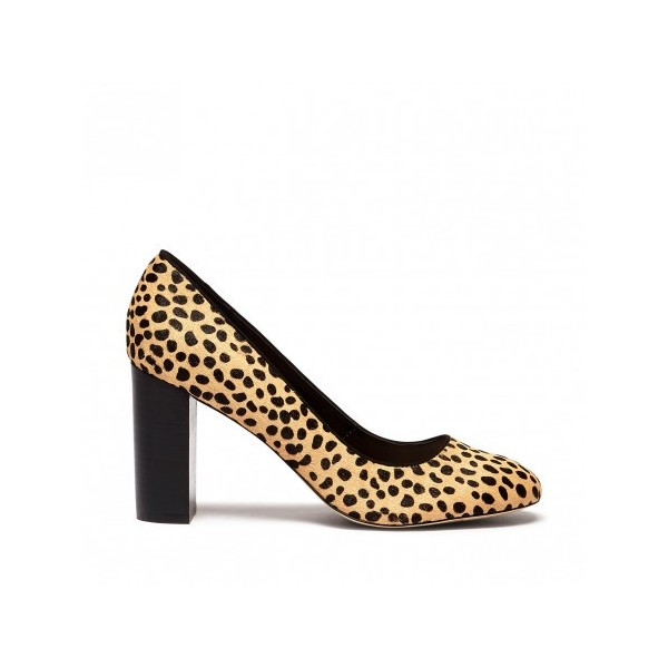 Leopard Print Heels Chunky Heel Round Toe Pumps for Female image 2