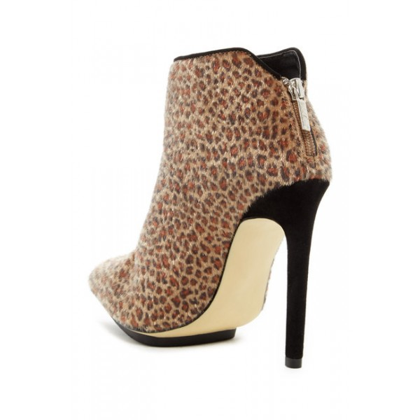 Leopard Print Boots Horse Hair Stiletto Heel Ankle Booties with Platform  image 2