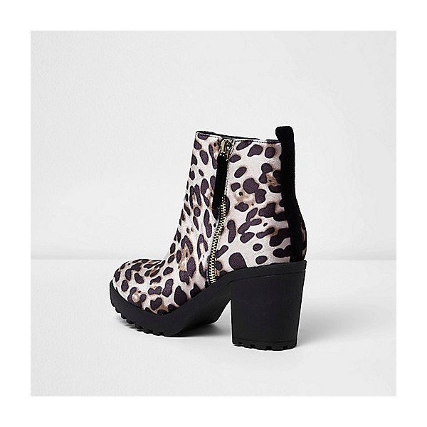 Leopard Print Boots Chunky Heels Round Toe Ankle Boots US Size 3-15 image 4
