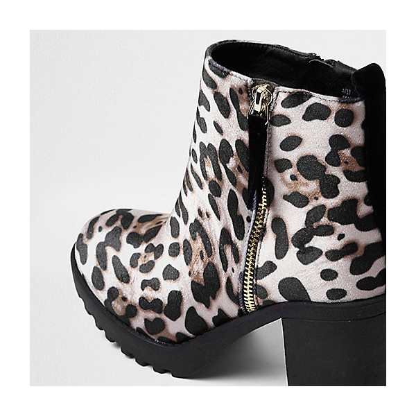Leopard Print Boots Chunky Heels Round Toe Ankle Boots US Size 3-15 image 3