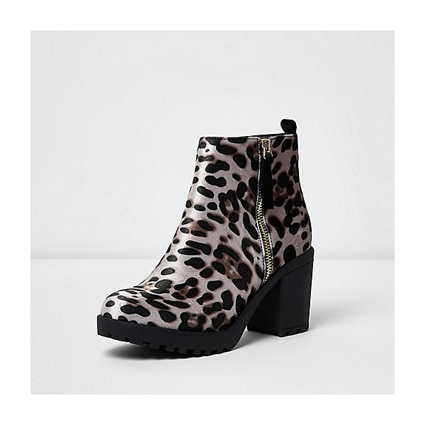 Leopard Print Boots Chunky Heels Round Toe Ankle Boots US Size 3-15 image 1