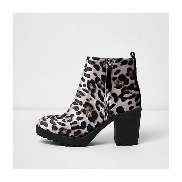 Leopard Print Boots Chunky Heels Round Toe Ankle Boots US Size 3-15 image 2