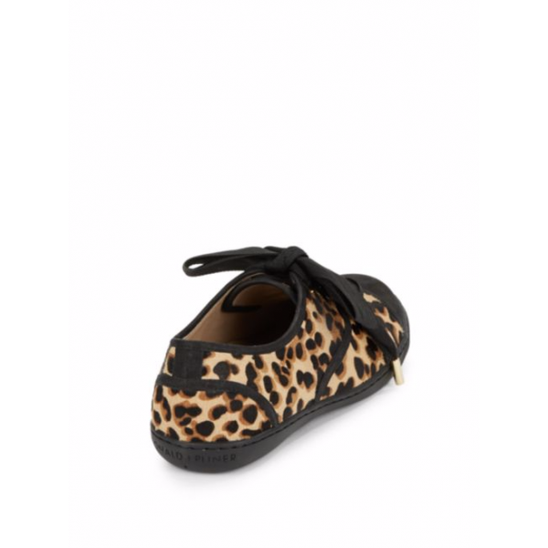 Women's Black Strappy Bowknot Leopard Print Flats image 3