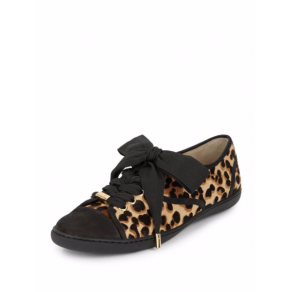 Women's Black Strappy Bowknot Leopard Print Flats image 1