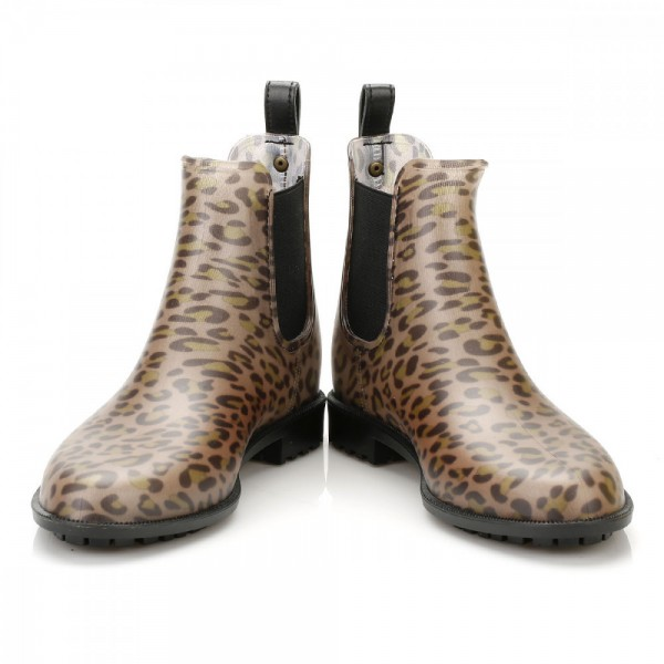 Leopard Print Boots Round Toe Slip-on Chelsea Boots US Size 3-15 image 4
