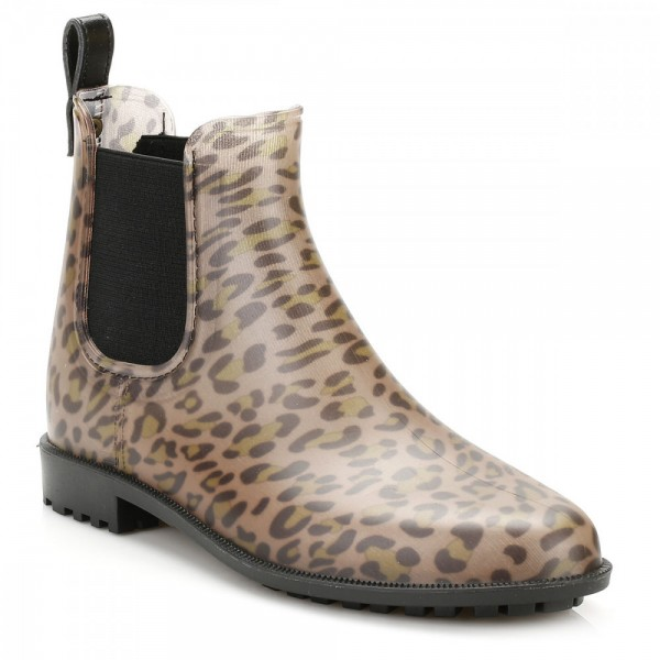Leopard Print Boots Round Toe Slip-on Chelsea Boots US Size 3-15 image 2