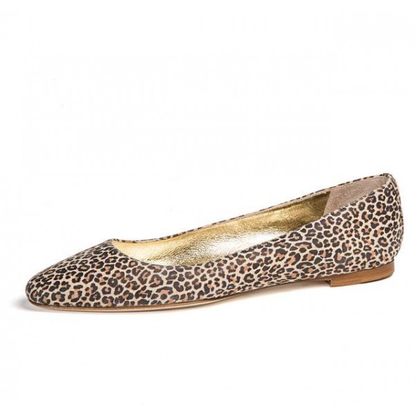 Women's Brown Gilding Lining Almond Toe Leopard-print Flats image 1