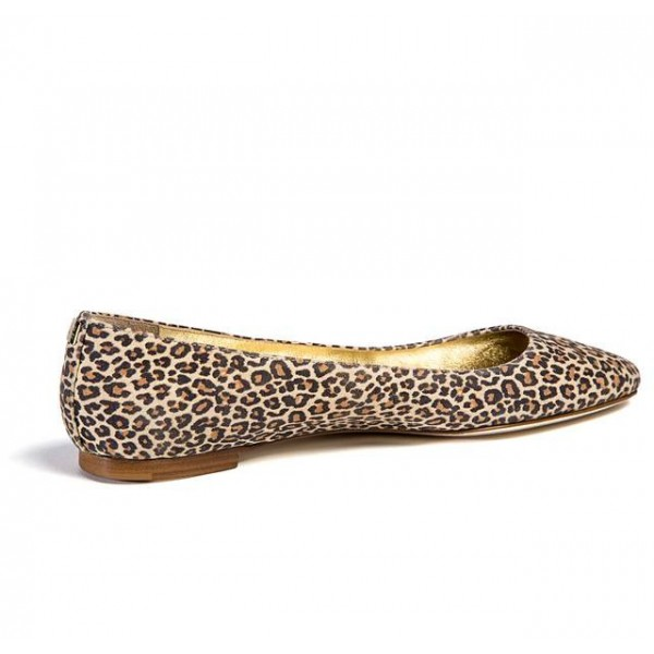 Women's Brown Gilding Lining Almond Toe Leopard-print Flats image 2