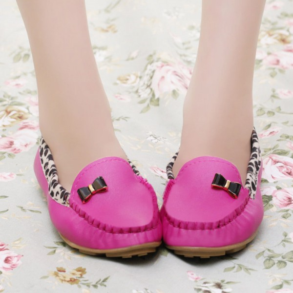 Fuchsia Round Toe Leopard Flats Comfortable Loafers for Women image 2