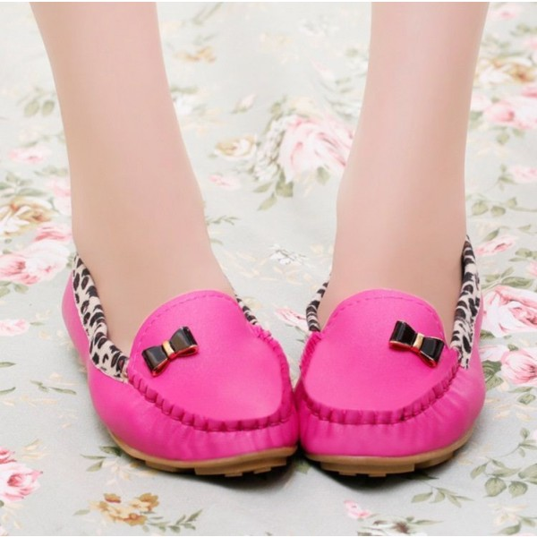 Fuchsia Round Toe Leopard Flats Comfortable Loafers for Women image 4