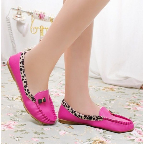 Fuchsia Round Toe Leopard Flats Comfortable Loafers for Women image 3