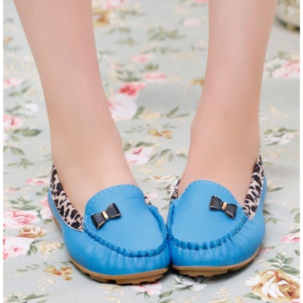 Women's Blue Almond Toe Bow Cheetah Comfortable Flats image 3
