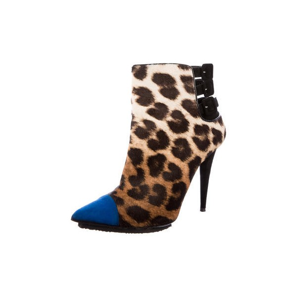 Leopard Print Boots Pointy Toe Multi-strap Ankle Booties with Platform  image 1