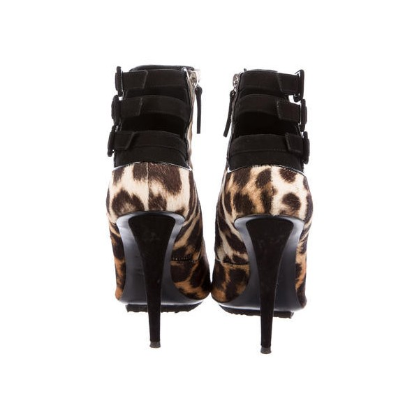 Leopard Print Boots Pointy Toe Multi-strap Ankle Booties with Platform  image 2