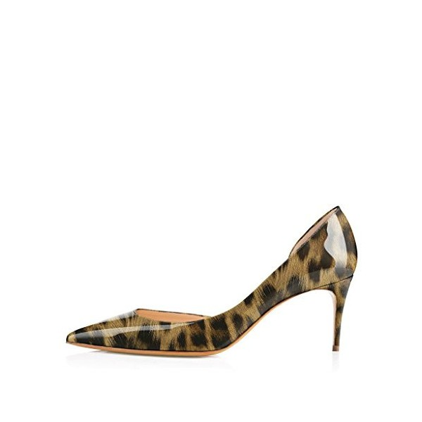 Leopard Print Heels Patent Leather Kitten Heel D'orsay Pumps image 3