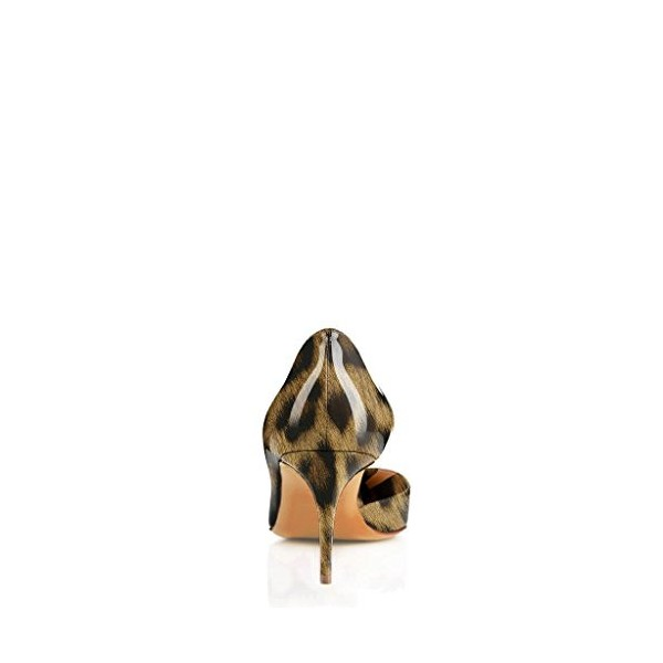 Leopard Print Heels Patent Leather Kitten Heel D'orsay Pumps image 2